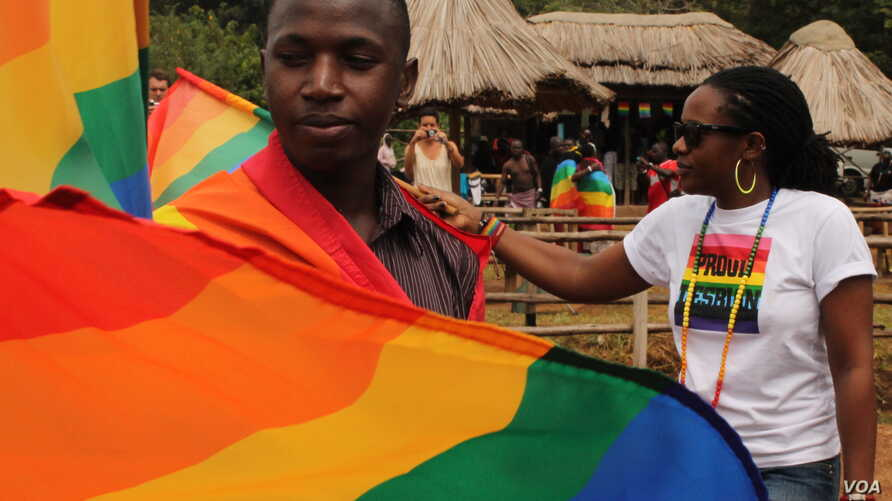 Revelers at Uganda's second gay pride parade in Entebbe, Aug. 3, 2013. (Hilary Heuler for VOA News)