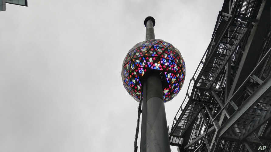 A test is performed in New York's Times Square Dec. 30, 2018, of the New Year's Eve ball that will be lit and sent up a 130-foot pole atop One Times Square to mark the start of the 2019 New Year.
