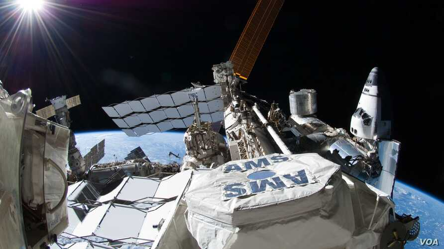 The Alpha Magnetic Spectrometer attached to the International Space Station.