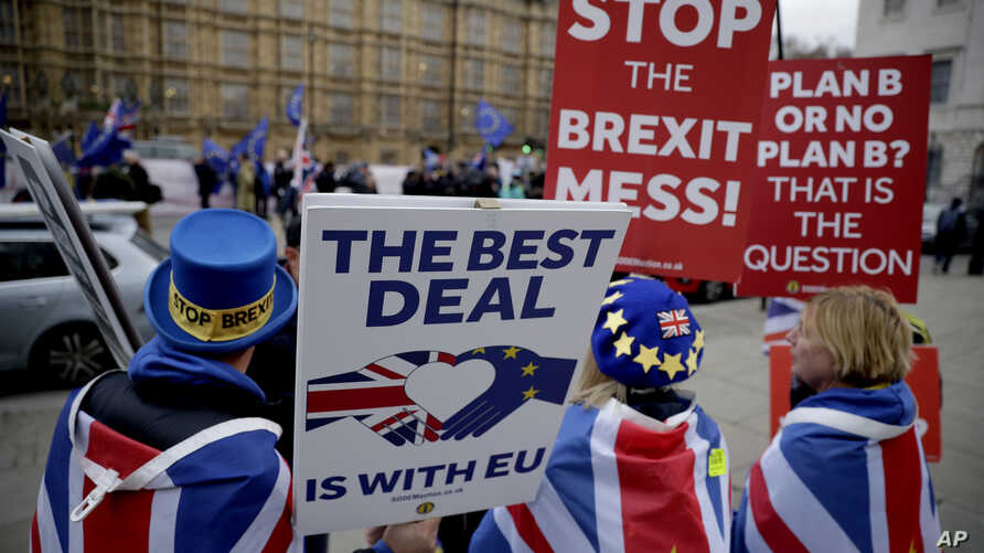 Anti-Brexit remain in the European Union supporter Steve Bray, left, holds placards as he demonstrates with others opposite the Houses of Parliament in London, Jan. 21, 2019.