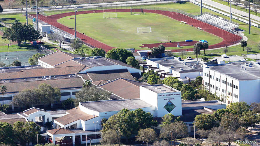 FILE - An aerial view shows Marjory Stoneman Douglas High School following a mass shooting in Parkland, Florida, U.S., Feb. 16, 2018.
