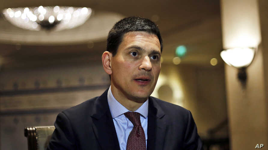 David Miliband, President and CEO of the International Rescue Committee, speaks during an interview with The Associated Press in Beirut, Lebanon, March 6, 2017.