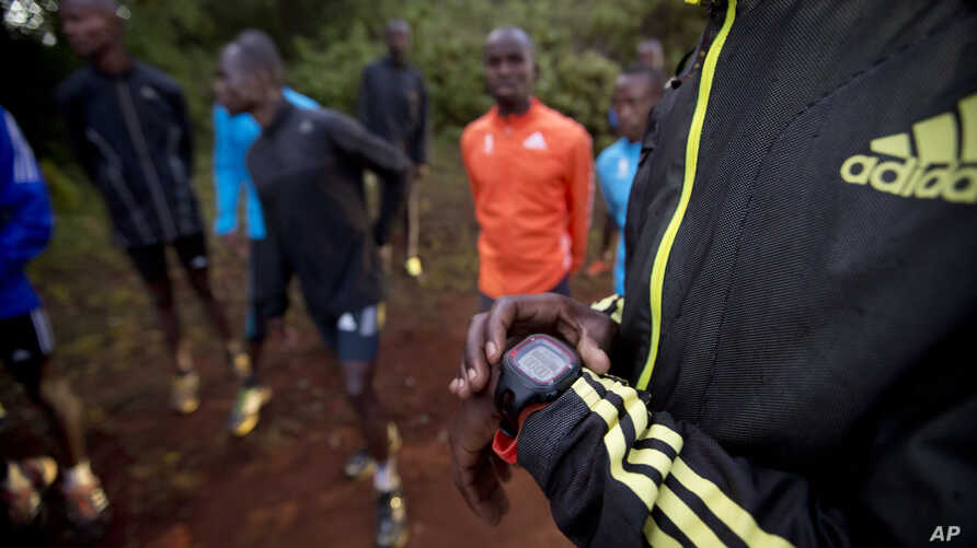FILE - an athlete sets the timer on his watch before starting to run with others in Kaptagat Forest in western Kenya.