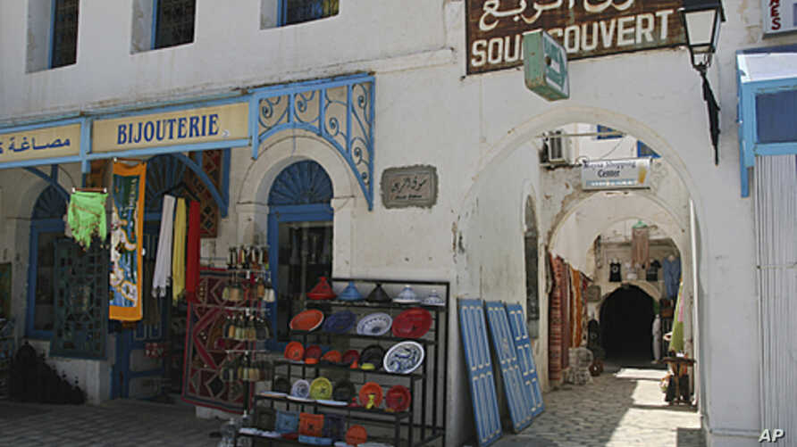 Empty market in the town of Houmet Souq on the island of Djerba, Tunisia, July 9, 2011