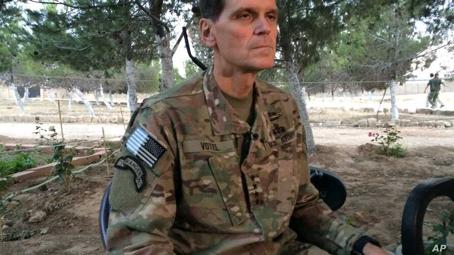 Army Gen. Joseph Votel speaks to reporters May 21, 2016 during a secret trip to Syria.