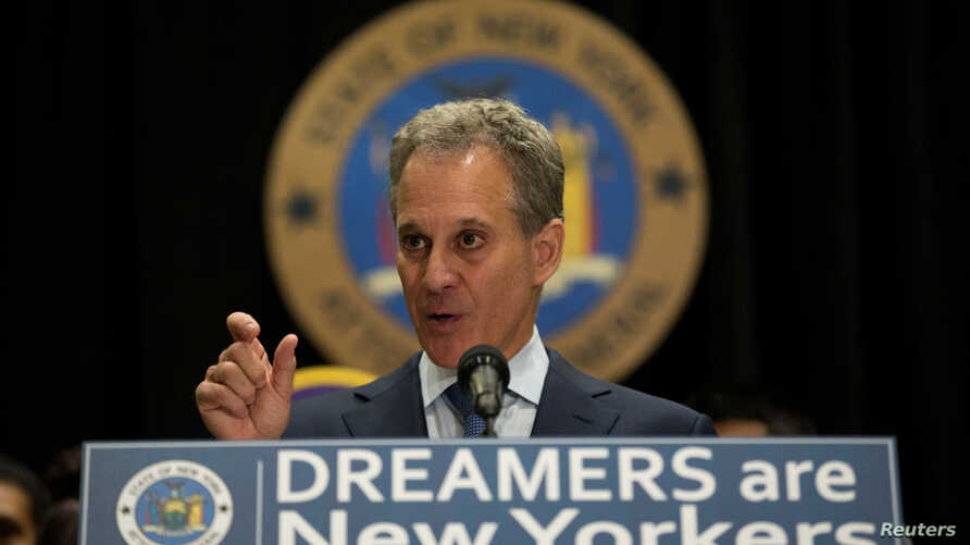 New York Attorney General Eric T. Schneiderman announces the filing of a multistate lawsuit to protect Deferred Action for Childhood Arrivals (DACA) recipients at a news conference at John Jay College in New York, Sept. 6, 2017.