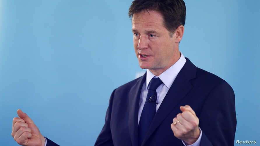 FILE - Britain's Deputy Prime Minister and leader of the Liberal Democrats, Nick Clegg, delivers a speech on international development, in London, May 28, 2014.