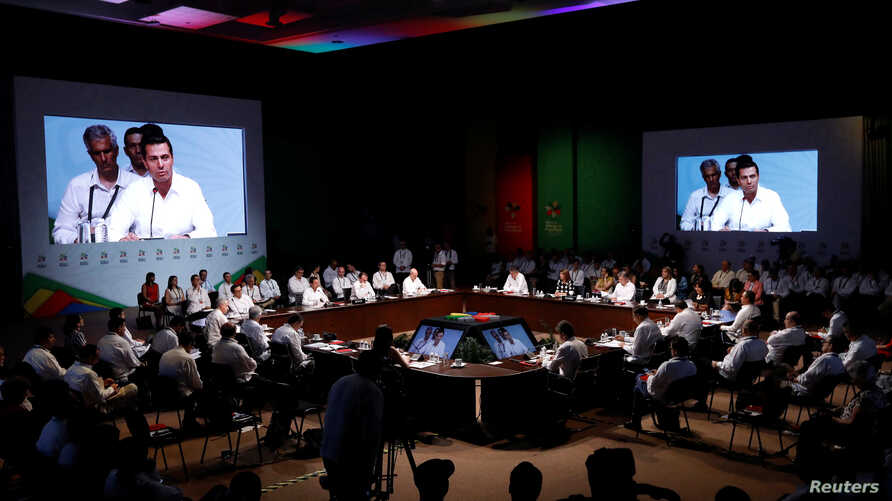 A general view shows the inauguration of the 13th Pacific Alliance Summit in Puerto Vallarta, Mexico, July 24, 2018.