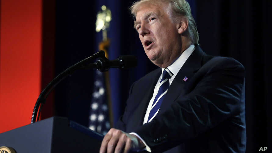 President Donald Trump speaks to a Faith and Freedom conference at the Omni Shoreham Hotel, June 8, 2017, in Washington.