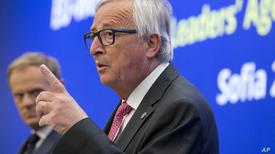 European Commission President Jean-Claude Juncker speaks during a media conference at the conclusion of an EU and Western Balkan heads of state summit at the National Palace of Culture in Sofia, Bulgaria, May 17, 2018.