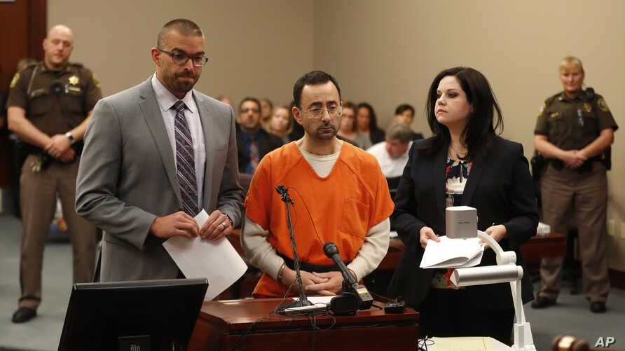 Dr. Larry Nassar, 54, appears in court for a plea hearing in Lansing, Mich., Nov. 22, 2017. Nasser, a sports doctor accused of molesting girls, pleaded guilty to multiple charges of sexual assault.