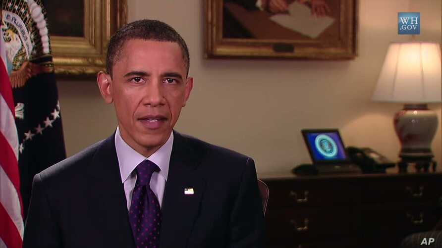 US President Barack Obama delivers his weekly address, March 26, 2011