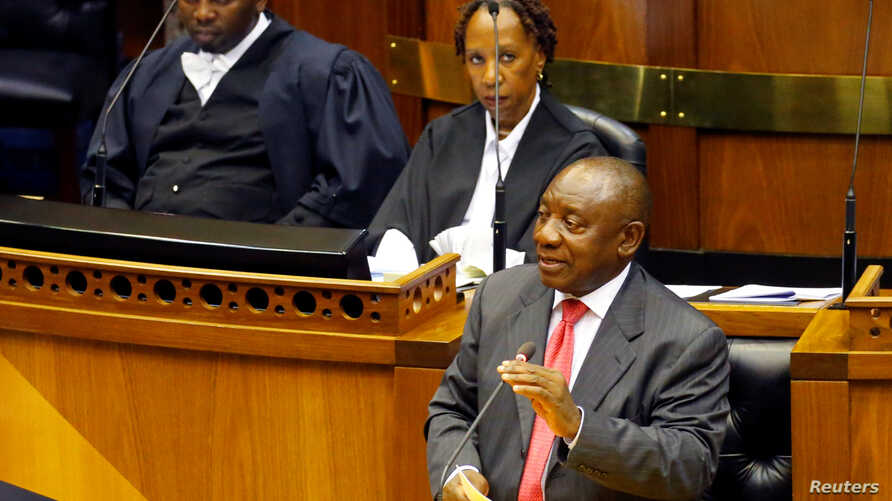 President of South Africa Cyril Ramaphosa addresses MPs after being elected president in parliament in Cape Town, South Africa, Feb. 15, 2018.