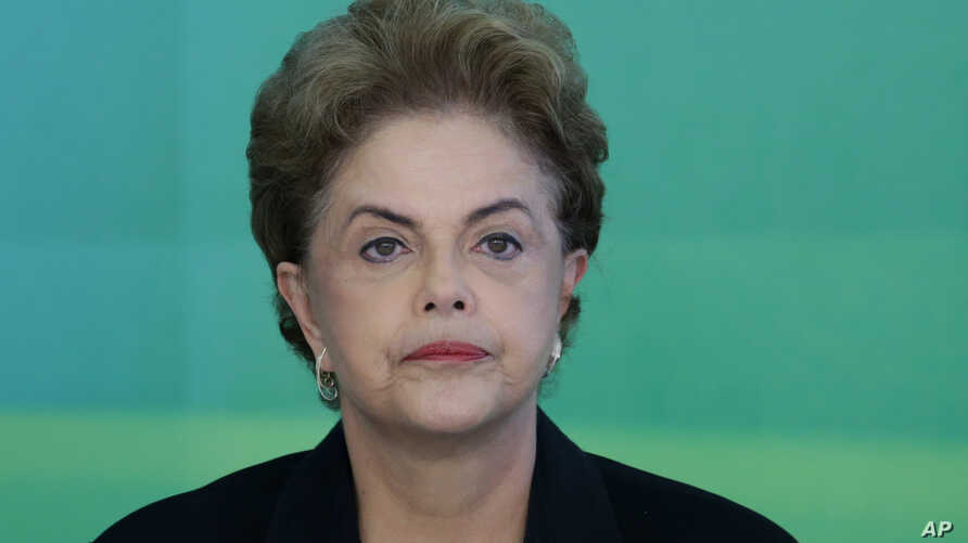 Brazil's President Dilma Rousseff attends a meeting with rectors of public universities, at the Planalto Presidential palace, in Brasilia, Brazil, March 11, 2016.