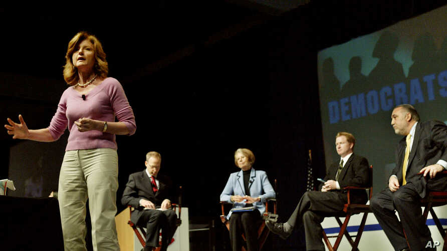 FILE - In front, Arianna Huffington, journalist commentator; from left, Rick Jacobs, chairman for Campaign For California's Future; Ann Lewis, former White House Communications director; Kevin Bleyer, writer/poducer with the Dennis Miller show; and p