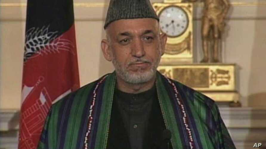 Afghanistan's President Hamid Karzai speaks to the public about US/Afghanistan relations at the State Department in Washington, 11 May 2010
