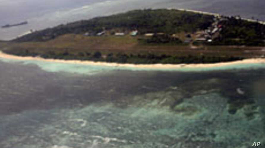An aerial view shows Pag-asa Island, part of the disputed Spratly group of islands, in the South China Sea located off the coast of western Philippines on July 20, 2011.