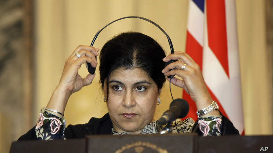 FILE -  Former chair of Britain's Conservative party Sayeeda Warsi accuses EU opponents of 'hate and xenophobia'.