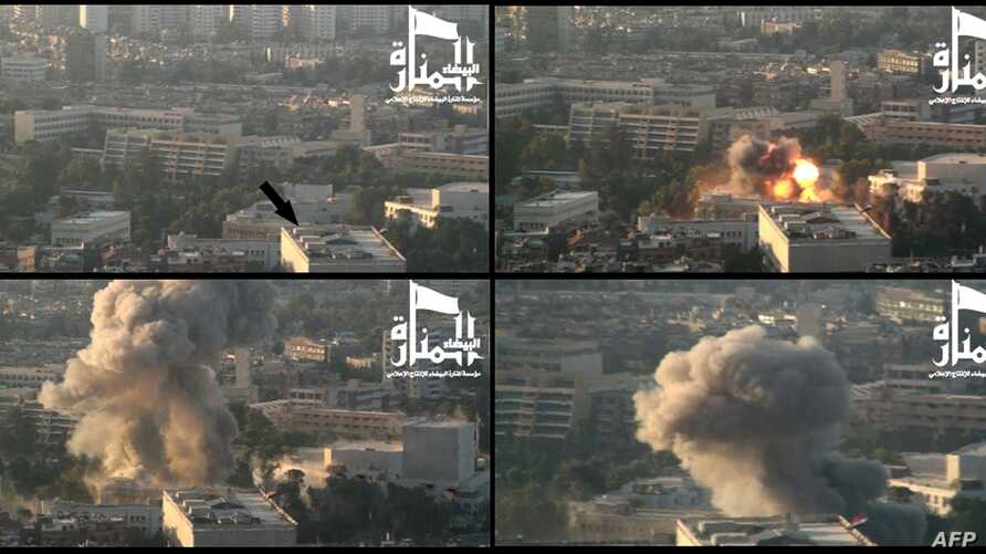 Image from Jabhat al-Nusra video claims credit for September double-bombing of army headquarters in Damascus' Ummayad Square (AFP)