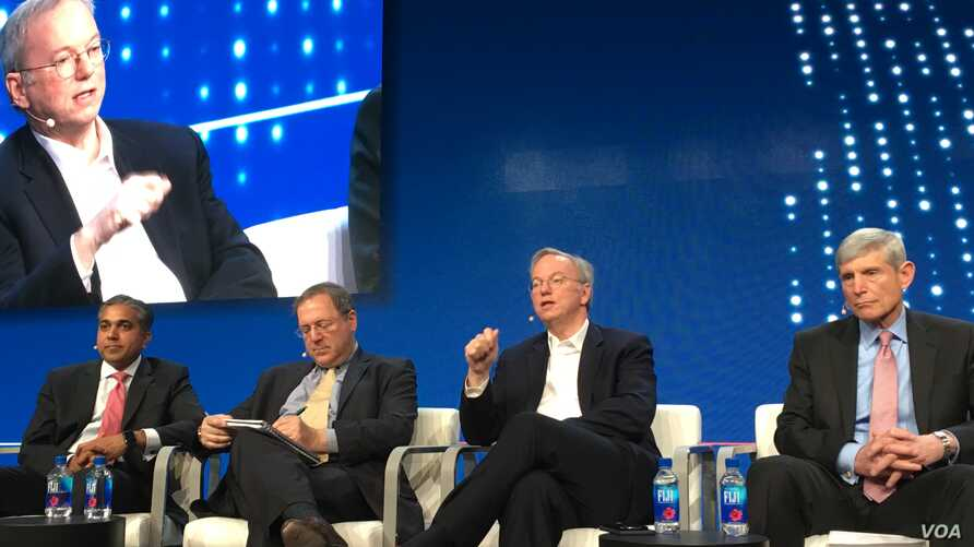 (From L to R) Raj Shah of Defense Innovation Unit, moderator David Sanger of the New York Times, Eric Schmidt of Alphabet, and Norton Schwartz of Business Executives for National Security at the Milken Global Conference in Beverly Hills, CA, May 1, 2
