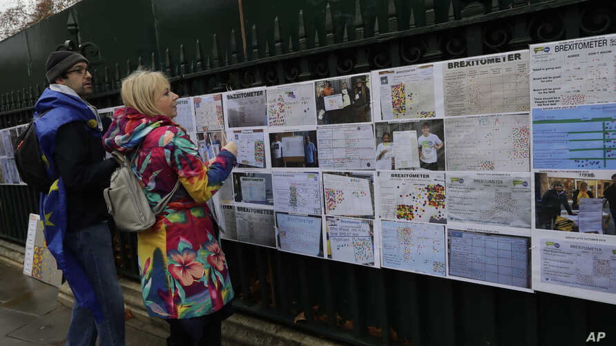 Anti-Brexit campaigners put up 'Brexitometer' results from around the country opposite parliament in Westminster in London, Dec. 5, 2018.