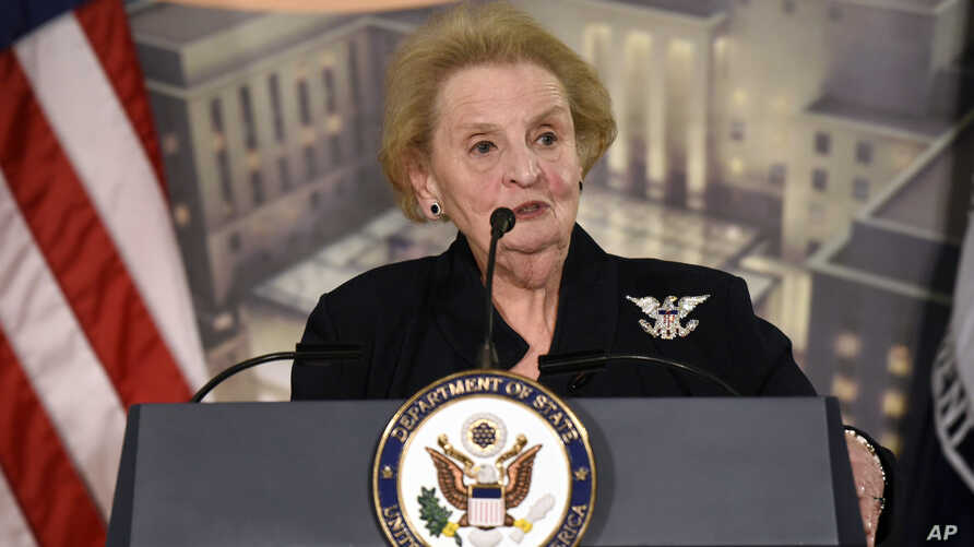 Former Secretary of State Madeleine Albright speaks at a reception celebrating the completion of the U.S. Diplomacy Center Pavilion at the State Department in Washington, Jan. 10, 2017.