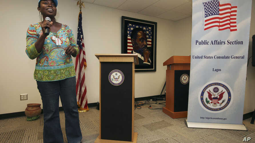 FILE - Abosede Oladayo, an AIDS activist living with HIV, speaks during an event to mark World Aids Day at the U.S. Embassy in Lagos, Nigeria, Dec. 2, 2011. Groups fighting AIDS warned Jan. 14, 2014, that a new Nigerian law criminalizing same-sex mar