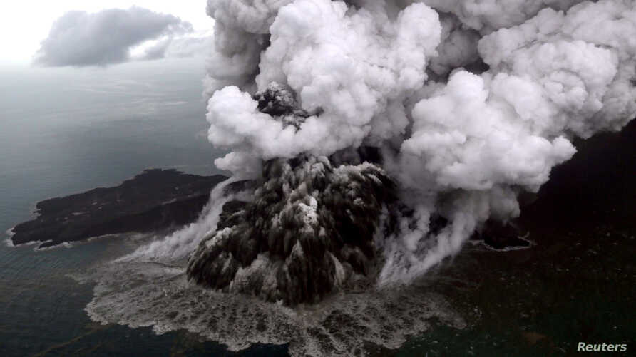 An aerial view of Anak Krakatoa volcano during an eruption at Sunda strait in South Lampung, Indonesia, Dec. 23, 2018.