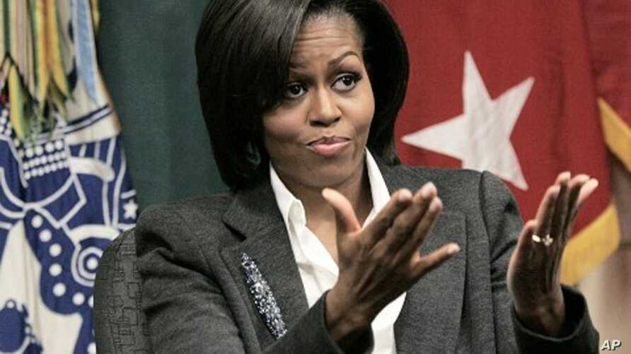 US first lady Michelle Obama gestures during a briefing on an obesity study presentation during her visit to Fort Jackson, South Carolina (File Photo).