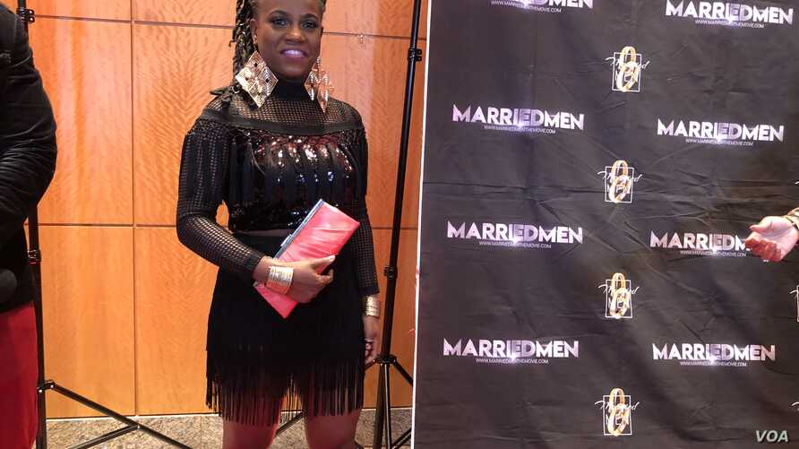 Haitian Rapper Princess Eud, who plays Alexis Genisis in the film Married Men at the movie's premiere in Miami, January 13, 2018. (S. Lemaire/VOA)