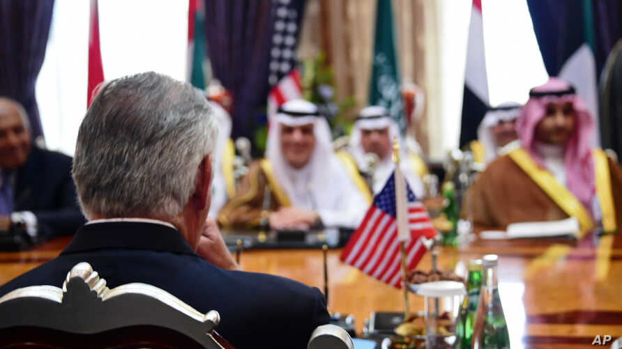 U.S. Secretary of State Rex Tillerson, participates in a ministerial meeting with the foreign ministers of Bahrain, Egypt, Saudi Arabia, and the United Arab Emirates, in Jiddah, Saudi Arabia, July 12, 2017.