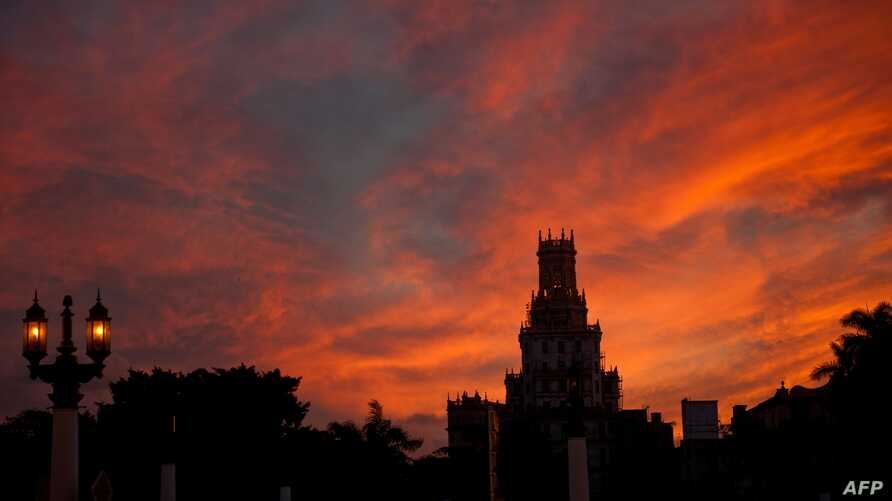 A view of a building in Havana, Cuba, at dawn, Feb. 3, 2017.