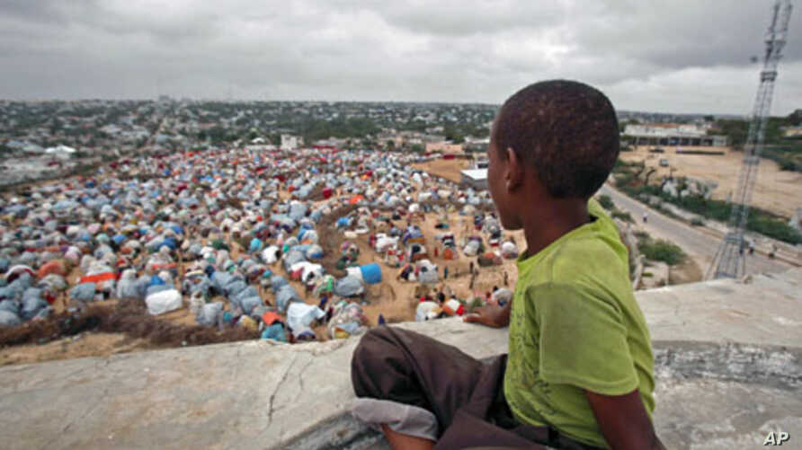 A boy sits looking over the Seyidka settlement for the famine-stricken internally displaced people in Berkulan, near Somalia's capital Mogadishu, September 6, 2011.