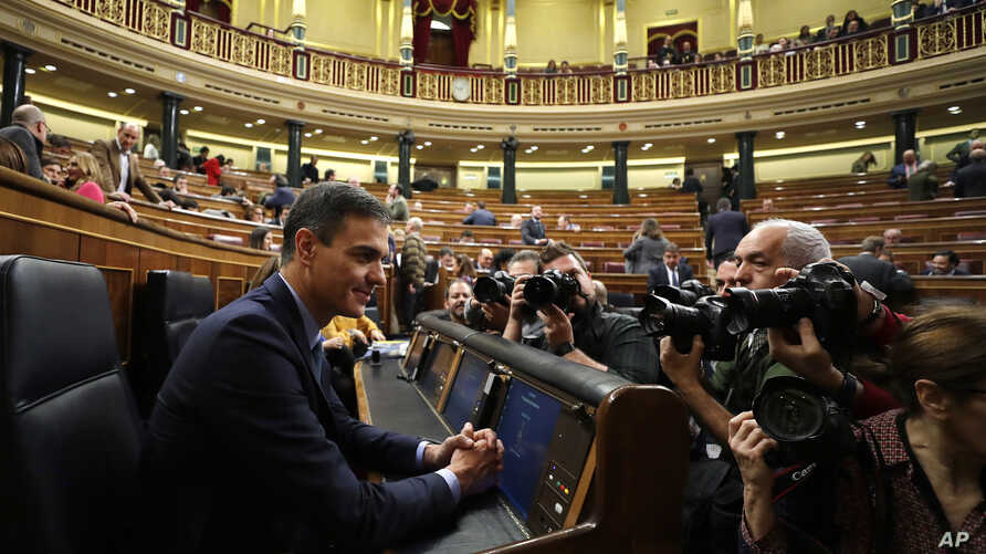 Spain's Prime Minister Pedro Sanchez is photographed at the Spanish parliament in Madrid, Feb. 13, 2019.