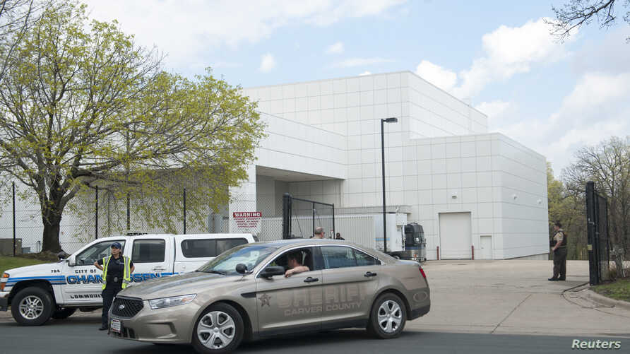 FILE - A sheriff's car leaves Paisley Park, U.S. music superstar Prince's estate in Chanhassen, Minn., April 21, 2016. The administrator of Prince's estate says it is not planning to sell Paisley Park, one day after asking a judge for permission to o