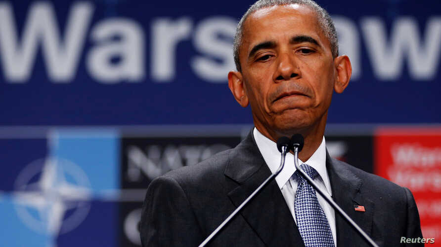 President Barack Obama, speaking at a news conference after participating in a NATO summit in Warsaw, Poland, says that if Americans care about the safety of police officers, they cannot pretend that the country's problems with gun violence are irrel