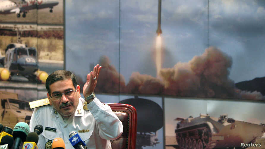 FILE - Ali Shamkhani, then Iran's defense minister, speaks with journalists during a news conference at the Defense Ministry in Tehran, Aug. 9, 2005.