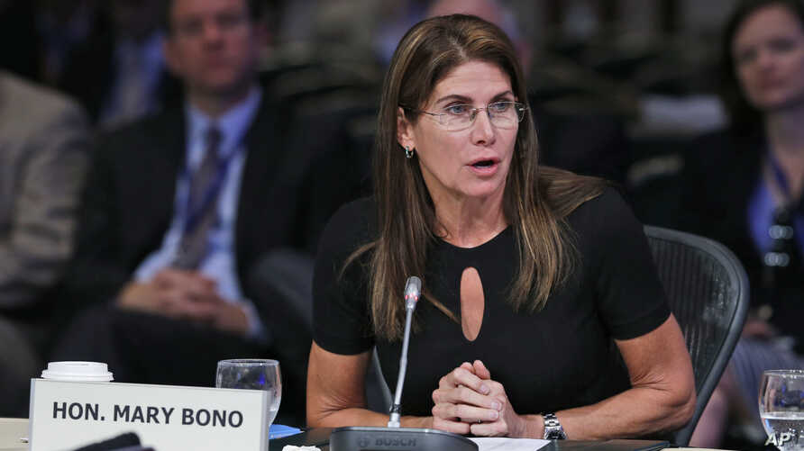 FILE - Congresswoman Mary Bono, R-Ca., speaks during a meeting of the Joint Committee Session on addressing the Nation's Opiod Crisis at the National Governors Association Summer meeting at the Greenbrier in White Sulphur Springs, W. Va., Saturday, J