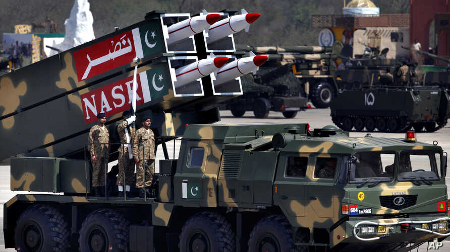 A Nasr missile is loaded on vehicle during the Pakistan National Day parade in Islamabad, Pakistan, Monday, March 23, 2015.