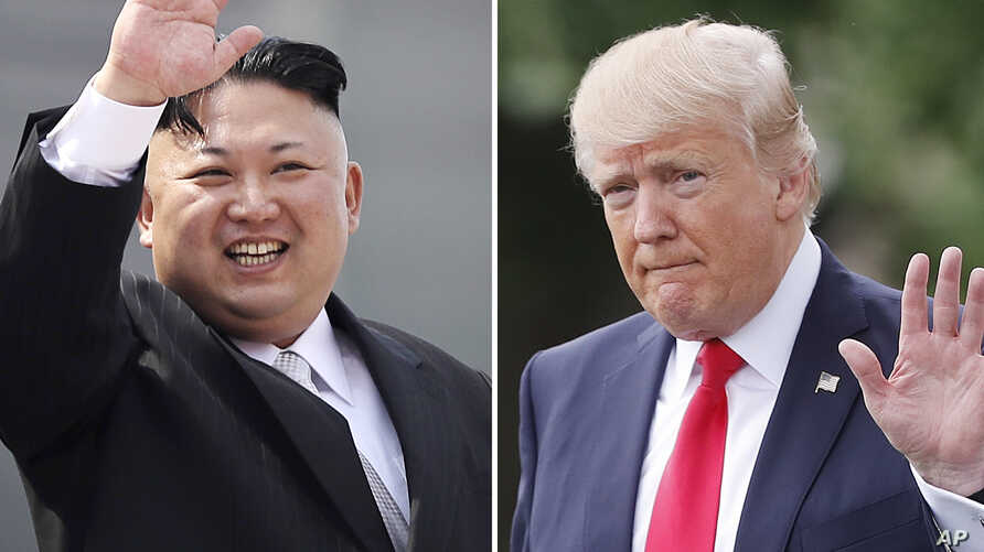 FILE - This combination of photos shows North Korean leader Kim Jong Un on April 15, 2017, in Pyongyang, North Korea, left, and U.S. President Donald Trump in Washington on April 29, 2017.