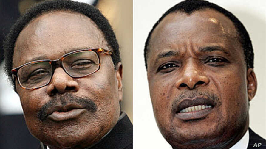 Combination of two recent pictures showing, from left, the president of Gabon, Omar Bongo, and the president of Congo Brazzaville, Denis Sassou Nguesso, who are two of the three African leaders being probed for allegedly buying property in France wit
