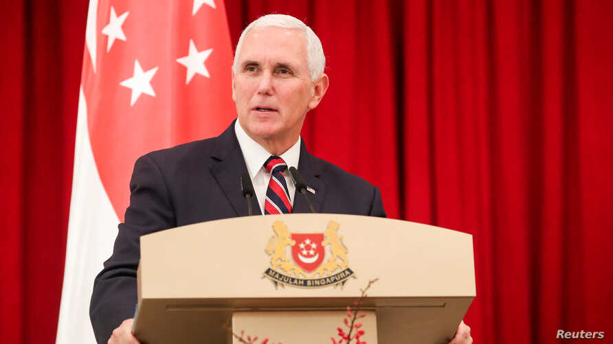 U.S. Vice President Mike Pence speaks at a joint press conference at the Istana, or Presidential Palace, in Singapore, Nov. 16, 2018.