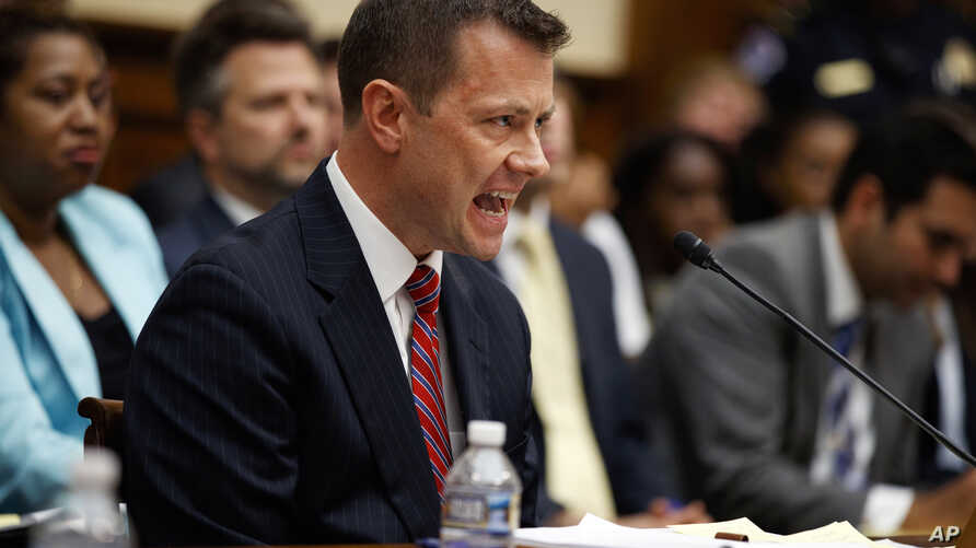 "FBI Deputy Assistant Director Peter Strzok testifies before the House Committees on the Judiciary and Oversight and Government Reform during a hearing on ""Oversight of FBI and DOJ Actions Surrounding the 2016 Election,"" on Capitol Hill, July 12, 2018..."