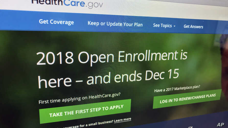 "FILE - The HealthCare.gov website, which administers a health insurance program known as ""Obamacare"" is photographed in Washington, Dec. 15, 2017."