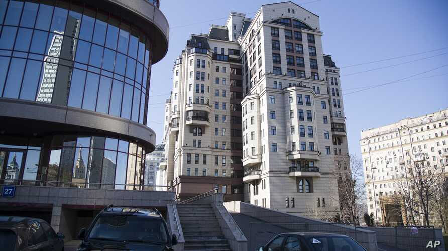FILE - In this April 24, 2018, photo, the Evrofinance Mosnarbank building stands in Moscow, Russia. The little-known Moscow bank has emerged as the only international financial institution so far willing to defy a U.S. campaign to derail Venezuela's
