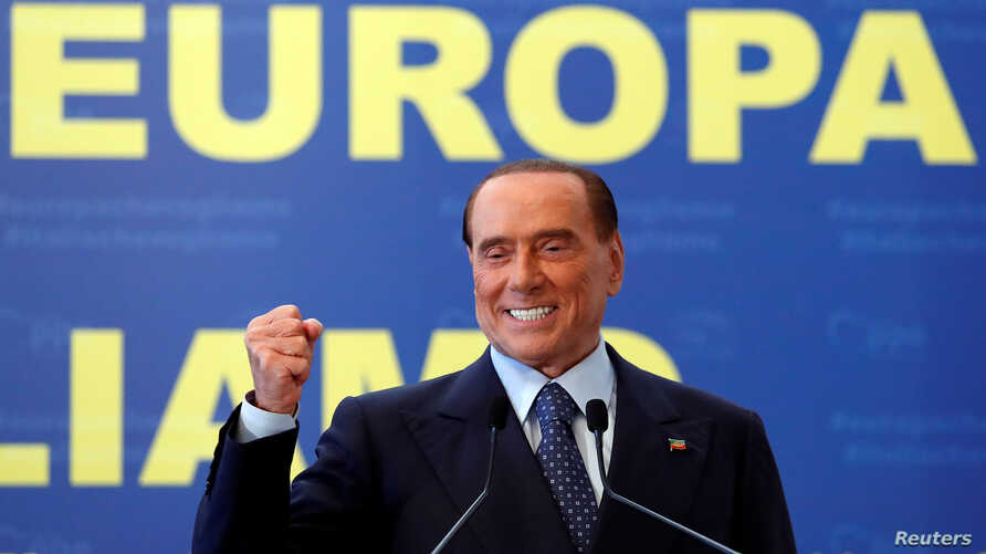 Forza Italia leader Silvio Berlusconi gestures during EPP European People's Party meeting in Fiuggi, Italy, Sept. 17, 2017.