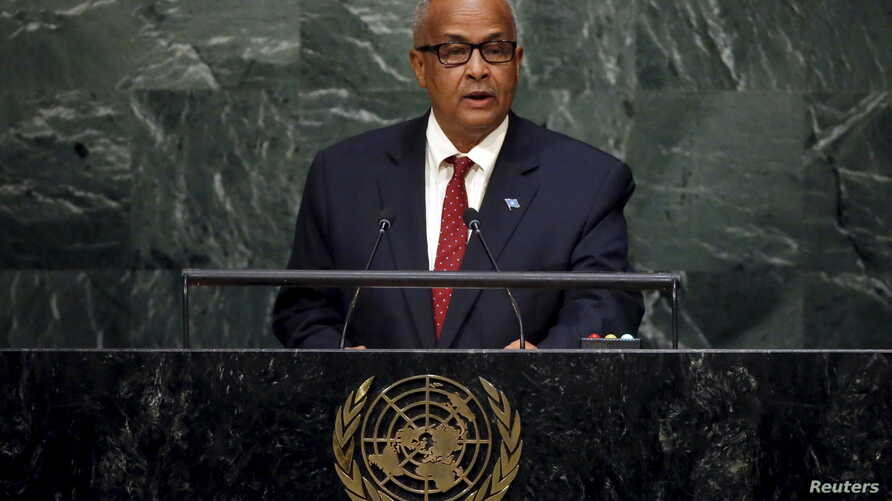 FILE - Foreign Minister Abdisalam Omer of Somalia addresses a plenary meeting of the United Nations Sustainable Development Summit 2015 at the United Nations headquarters in New York, Sept. 26, 2015.
