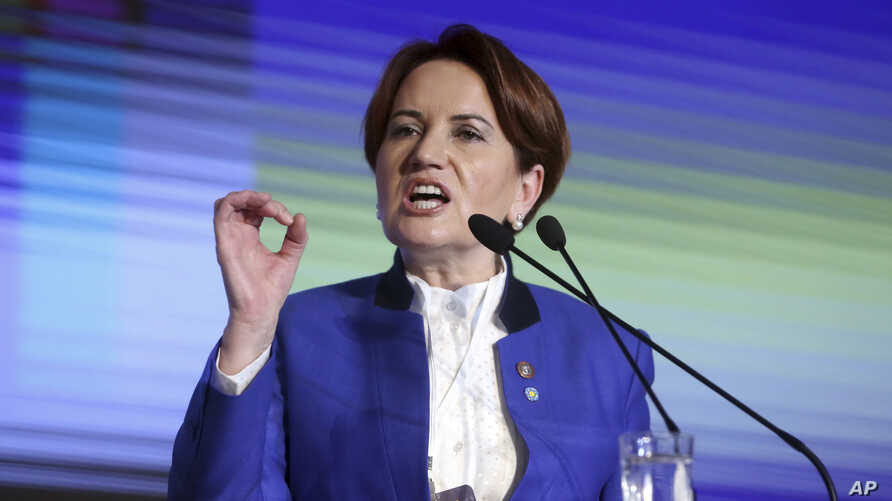 Meral Aksener, a former Turkish interior minister and deputy parliament speaker, addresses her party's first meeting in Ankara, Turkey, Oct. 25, 2017. Hoping to challenge President Recep Tayyip Erdogan in elections set for 2019, Aksener founded the c