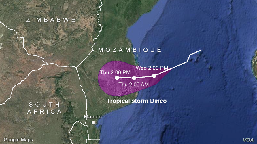 Projected path of tropical storm Dineo
