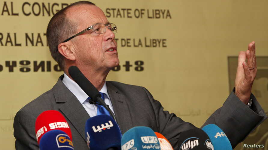 United Nations Special Representative and Head of the UN Support Mission in Libya, Martin Kobler speaks during a news conference in Tripoli, Nov. 22, 2015